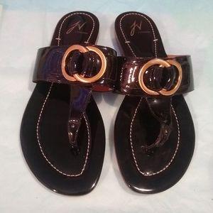 J Vincent 100% Leather Flip Flops - Size 8.5